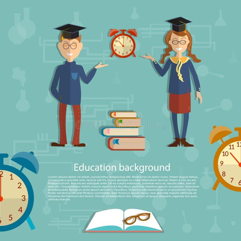 Heure pour l'éducation, écolier, écolière illustration libre de droits