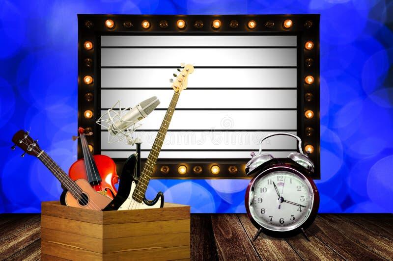 Heure pour l'exposition de musique pendant la bonne année photographie stock libre de droits