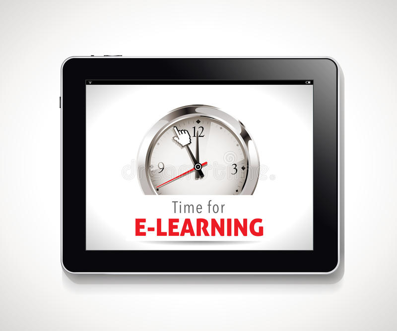 Heure pour le signe d'apprentissage en ligne illustration de vecteur