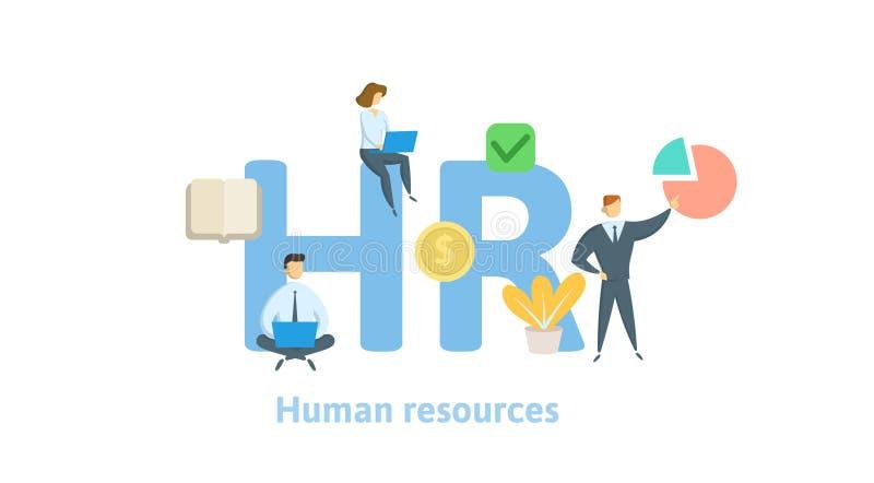 Heure, ressources humaines Concept avec des mots-clés, des lettres et des icônes Illustration plate de vecteur sur le fond blanc  illustration de vecteur