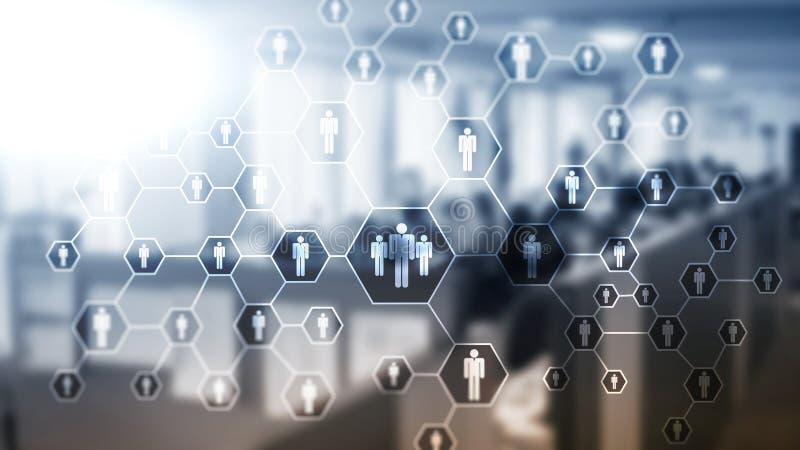 Heure, structure de ressources humaines, de recrutement, d'organisation et concept social de réseau photo libre de droits
