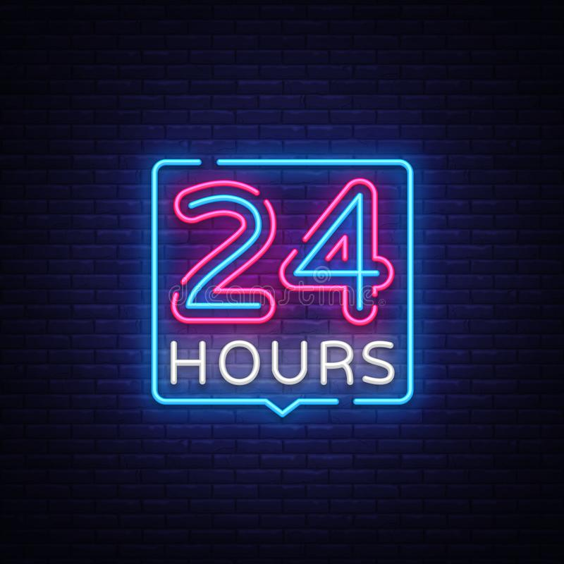 24 heures d'enseigne au n?on de vecteur de calibre de conception 24 heures ouvrent la tendance color?e de conception moderne de b illustration stock