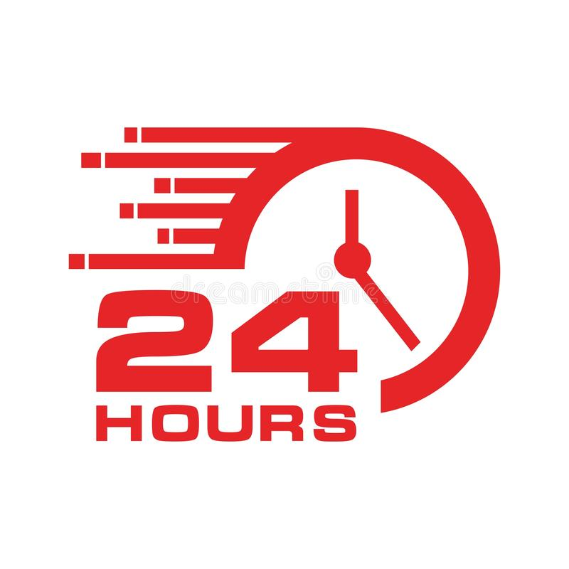 24 heures d'icône, illustration stock