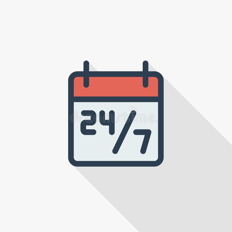 24 7 heures de service, programme sur la ligne mince icône plate de calendrier de couleur Symbole linéaire de vecteur Longue conc illustration de vecteur