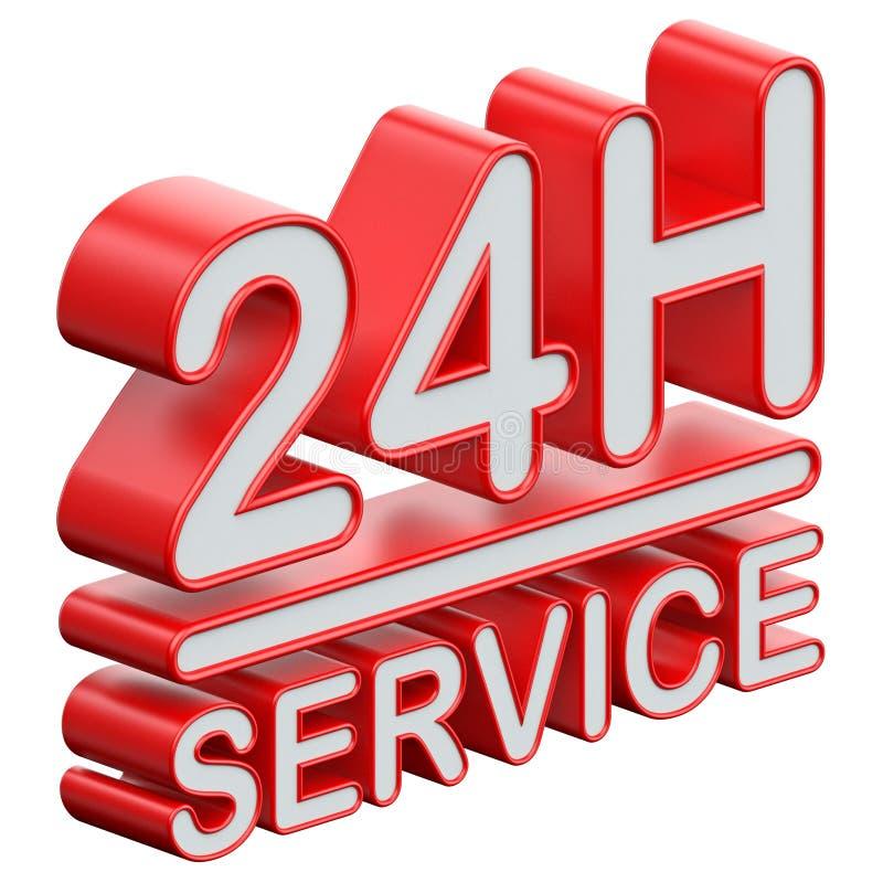 24 heures de textes 3D de service illustration stock