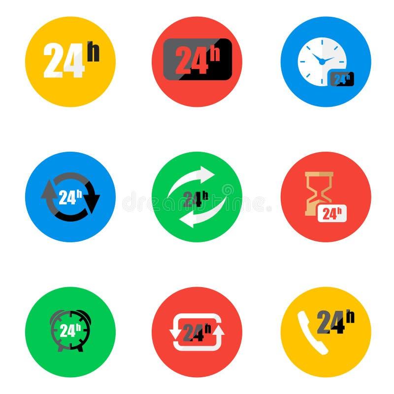 Heures plates d'icônes de vecteur 24 réglées illustration libre de droits