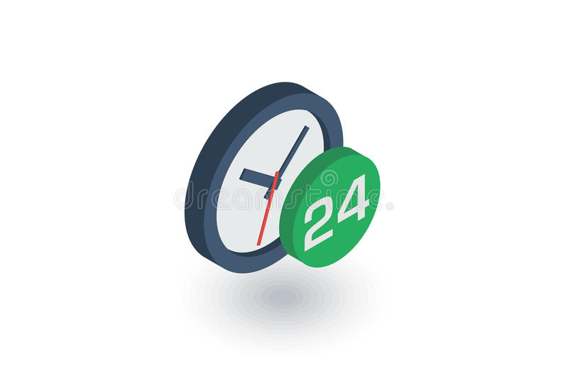 24 heures, vingt-quatre heures sur vingt-quatre, jour et nuit icône plate isométrique vecteur 3d illustration stock