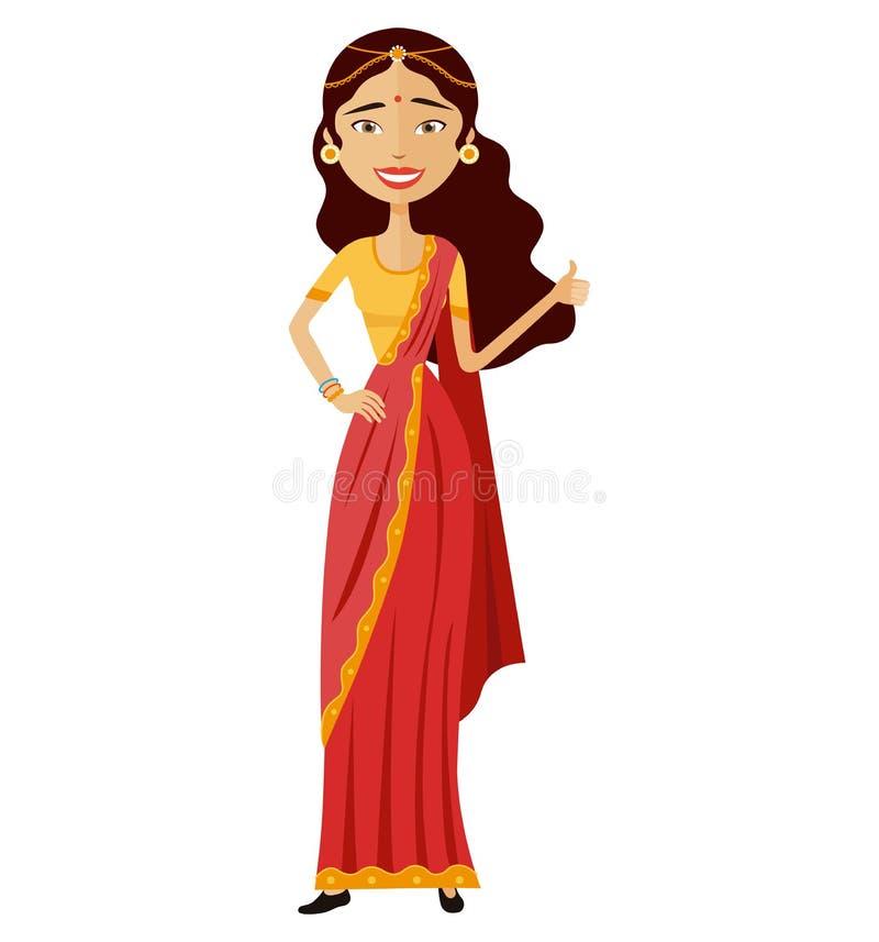 Heureuse jeune femme indienne montrant des pouces vers le haut de l'appartement de bande dessinée de vecteur d'isolement sur le b illustration stock
