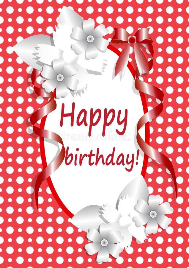 Heureux-anniversaire, - typographie-vecteur-designon-rouge-fond illustration libre de droits