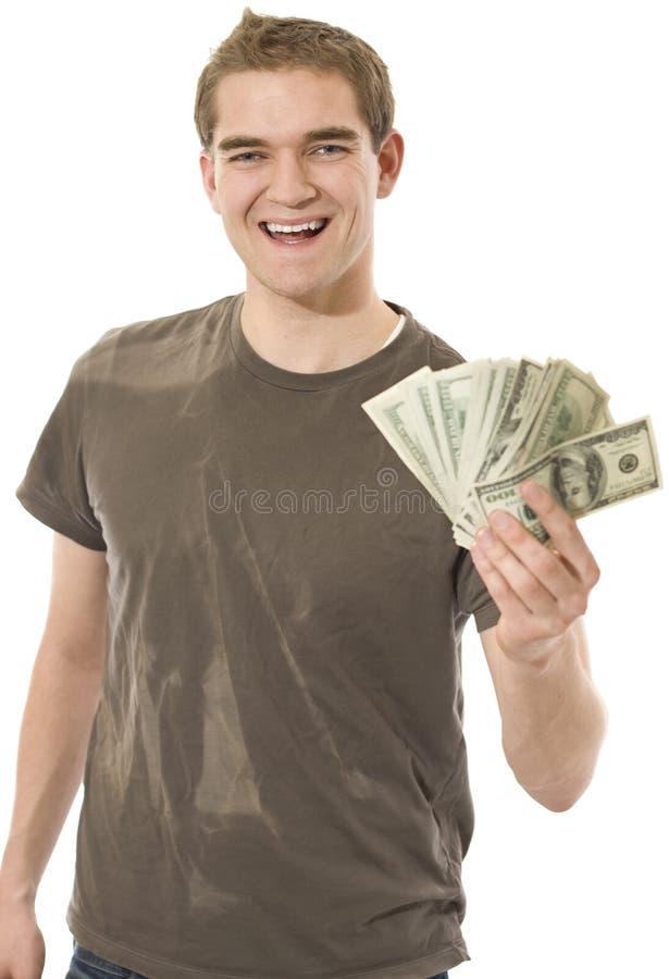 Heureux avec l'argent comptant image libre de droits