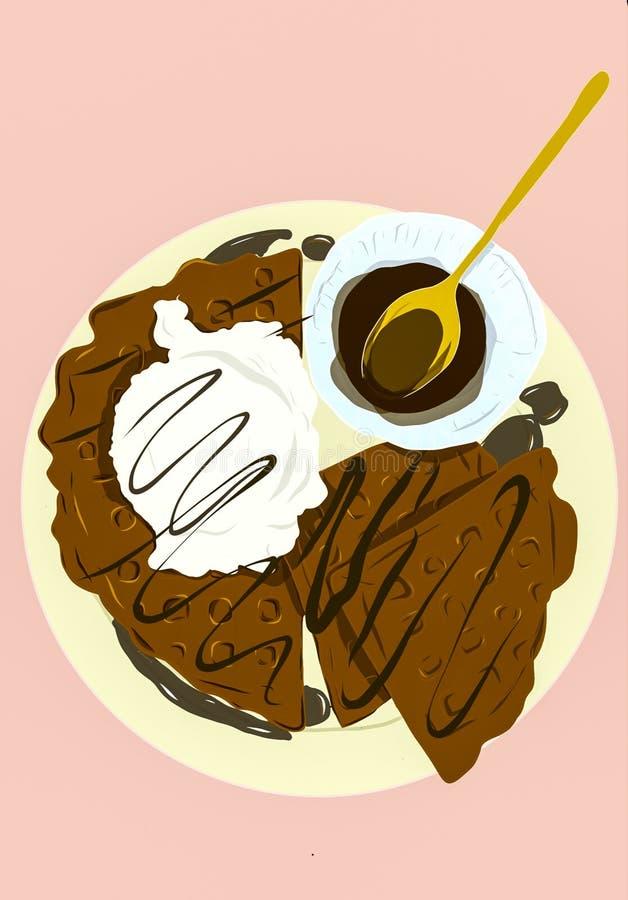 Heureux avec la crème glacée et les gaufres  illustration libre de droits