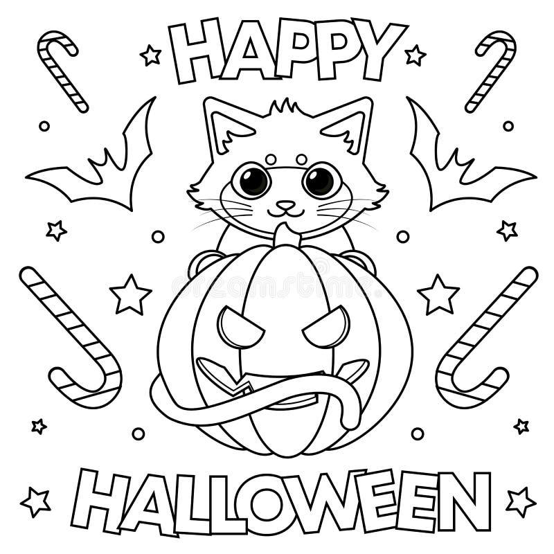` Heureux de Halloween de ` de page de coloration illustration libre de droits