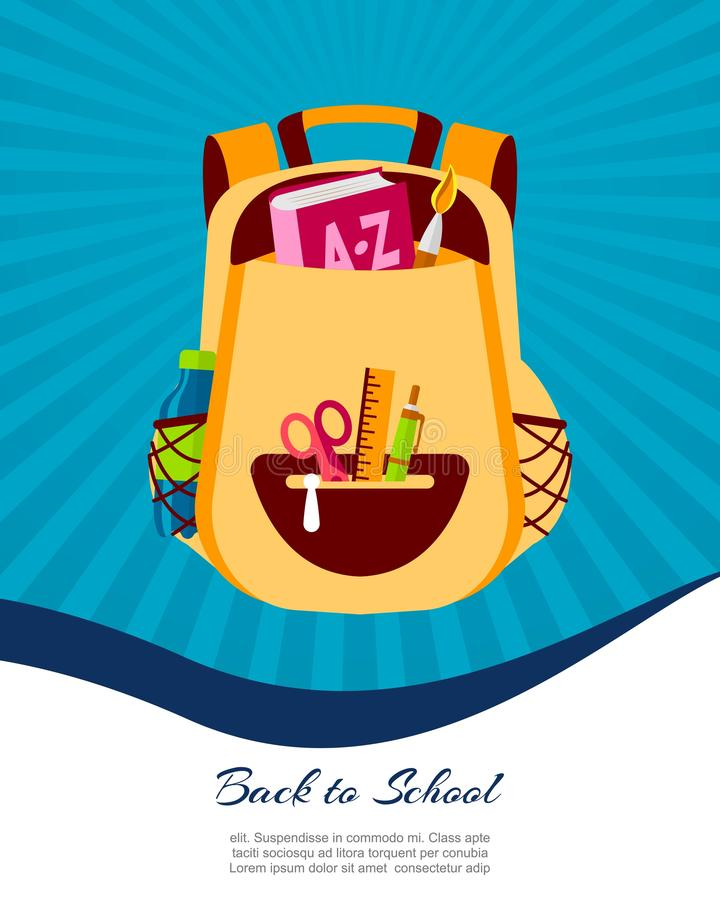 Heureux de nouveau à l'affiche d'école ou à la bannière de Web, illustration colorée de sac de sac à dos d'enfant Bagages d'étudi illustration stock