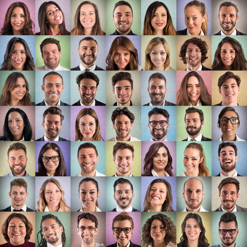 Heureux et positif fait face au collage des gens d'affaires photos libres de droits