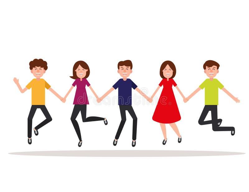heureux Groupe de personnes sautant sur un fond blanc Illustration de vecteur d'amitié de concept Style plat de conception de per illustration de vecteur