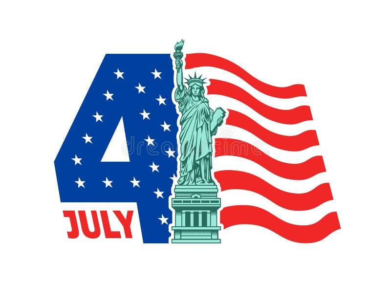 Heureux le 4ème juillet - Jour de la Déclaration d'Indépendance illustration libre de droits