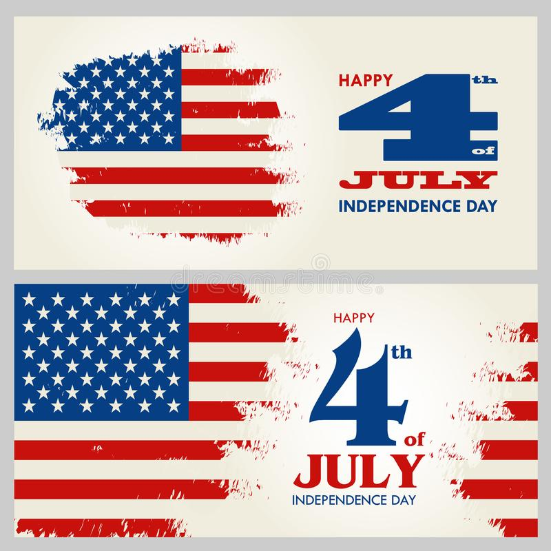 Heureux le 4ème juillet - Jour de la Déclaration d'Indépendance des Etats-Unis d'Amérique illustration de vecteur