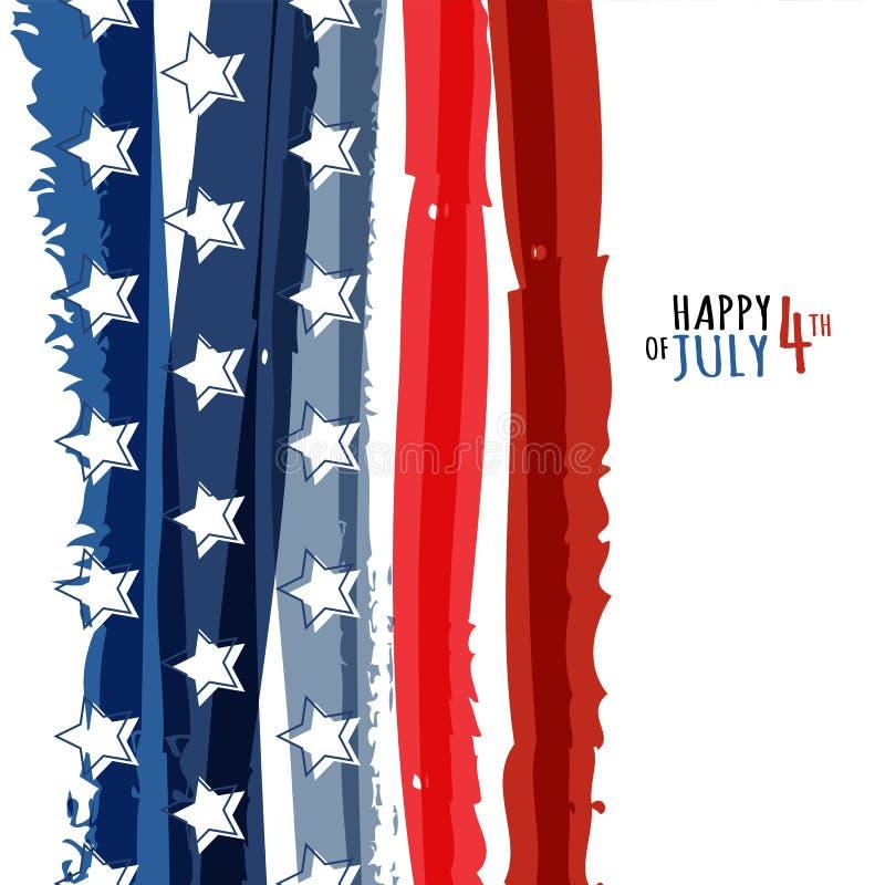 Heureux le 4ème juillet, Jour de la Déclaration d'Indépendance des Etats-Unis Grunge abstrait de vecteur illustration de vecteur