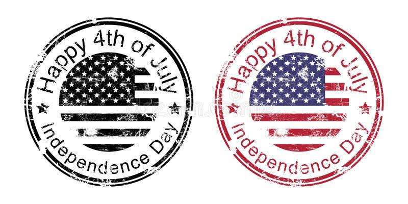 Heureux le 4ème juillet, timbre heureux de Jour de la Déclaration d'Indépendance, tampon en caoutchouc grunge américain des Etats illustration de vecteur
