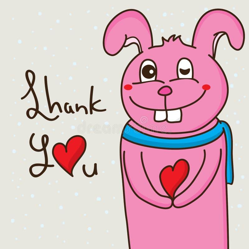 Heureux mignons de dents d'amour de lapin vous remercient illustration stock