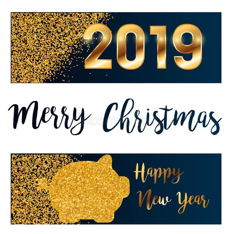 2019 heureux, salutations chinoises de nouvelle année, année du porc, fortune, traduction : Caractères chinois ha moyen de porc r illustration de vecteur
