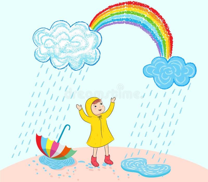 Heureux sous la pluie illustration stock