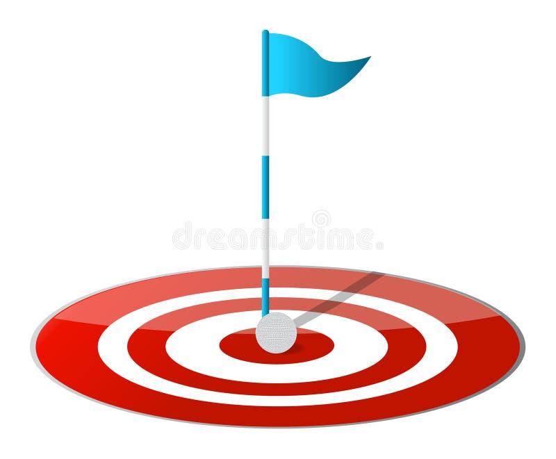 Heurtant la cible - golf illustration libre de droits