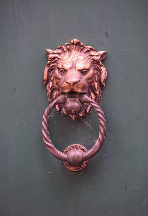 Heurtoir de cuivre de lion photos stock