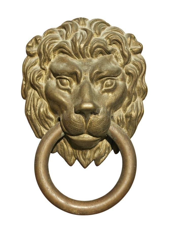 Heurtoir de trappe médiéval, découpage en bronze de tête de lion photo stock