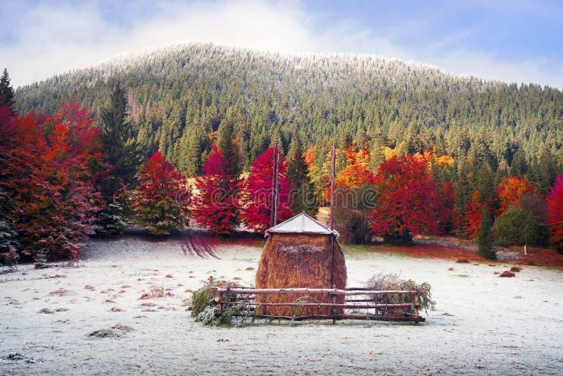 Heuschober im Herbst stockfoto