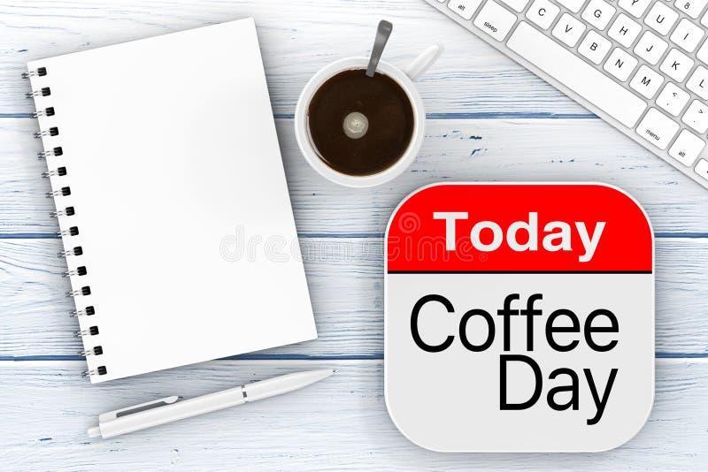Heutiger Tag ist Kaffee-Tagesikone, leerer Notizblock mit Penб-Computer-Schlüssel stockfotos
