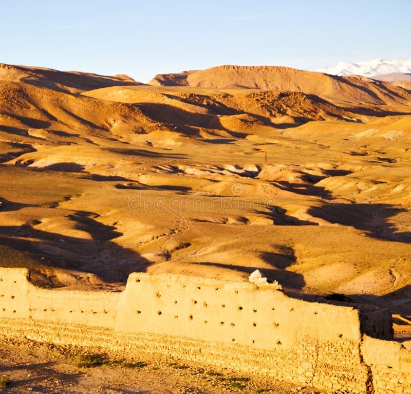 heuvel Afrika in Marokko oude contruction en historische vi royalty-vrije stock afbeelding