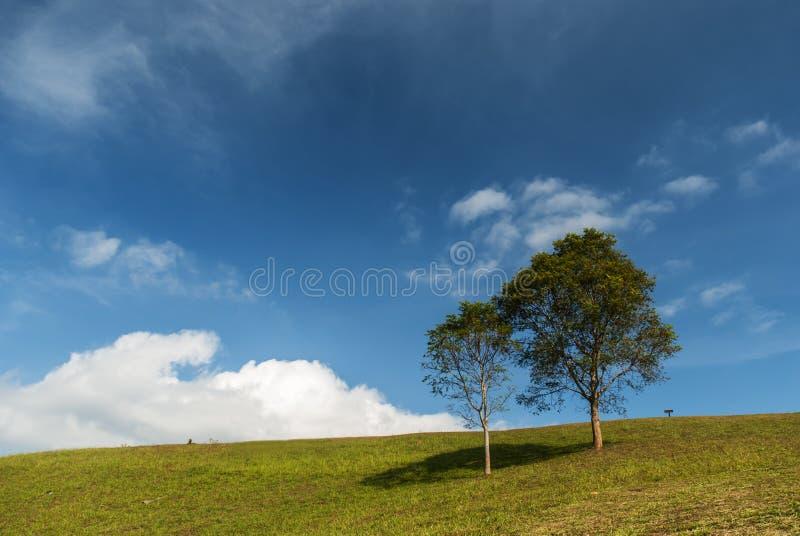 Heuvel en blauwe hemel royalty-vrije stock afbeelding