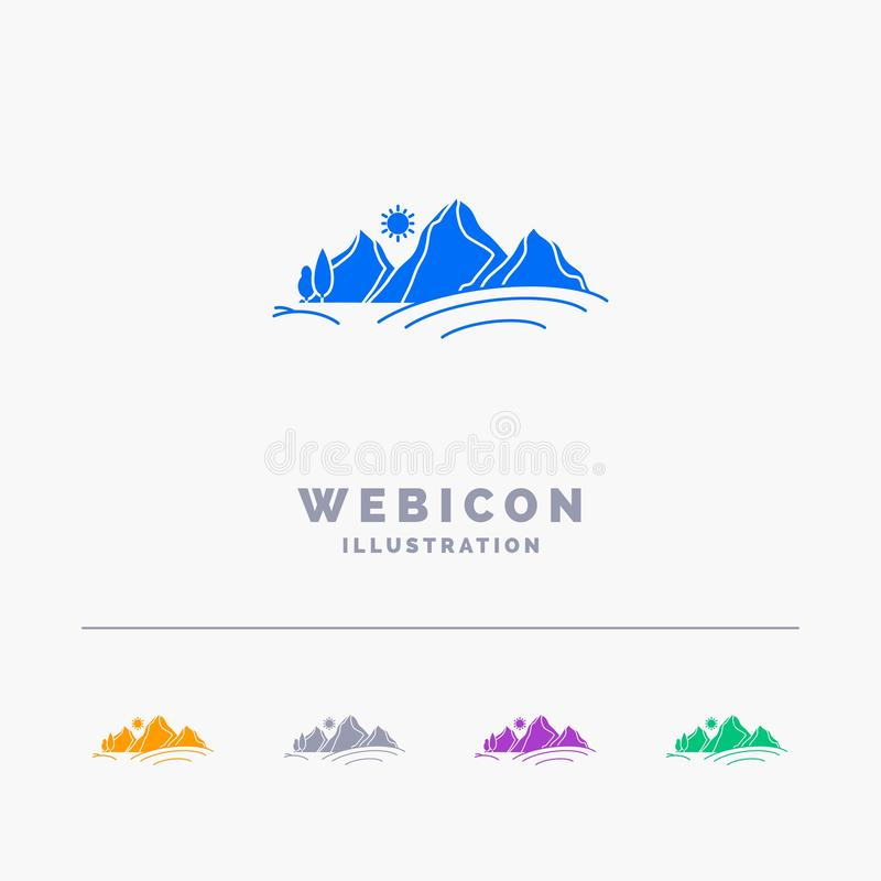 heuvel, landschap, aard, berg, zon 5 het Malplaatje van het het Webpictogram van Kleurenglyph op wit wordt ge?soleerd dat Vector  stock illustratie