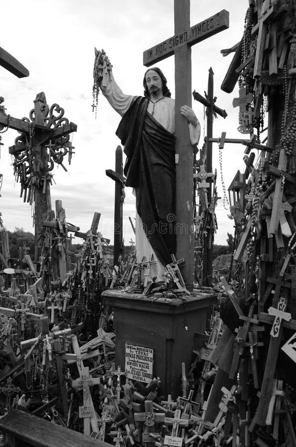 Heuvel van de Kruisen, Litouwen Christus, godsdienst stock fotografie