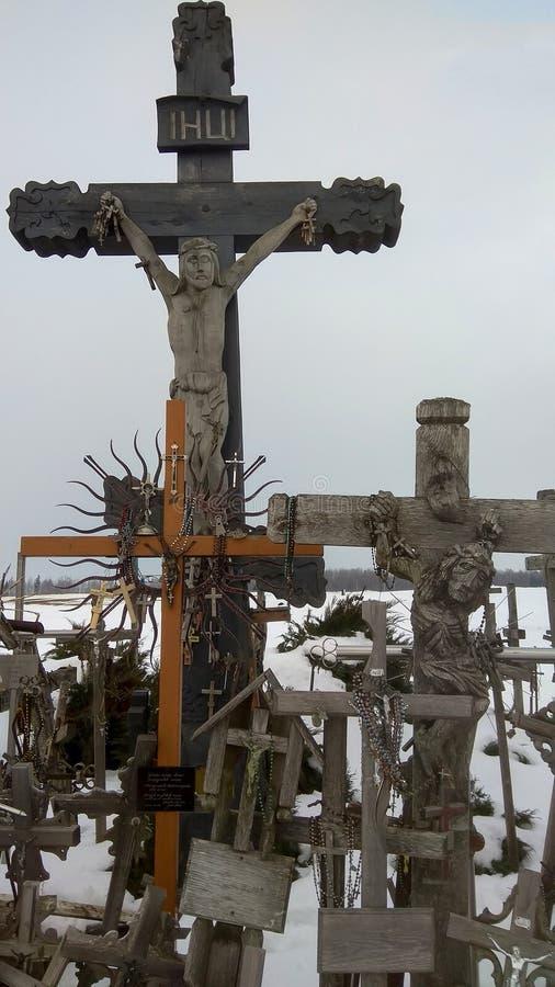 Heuvel van Kruisen Siauliai Litouwen stock afbeelding