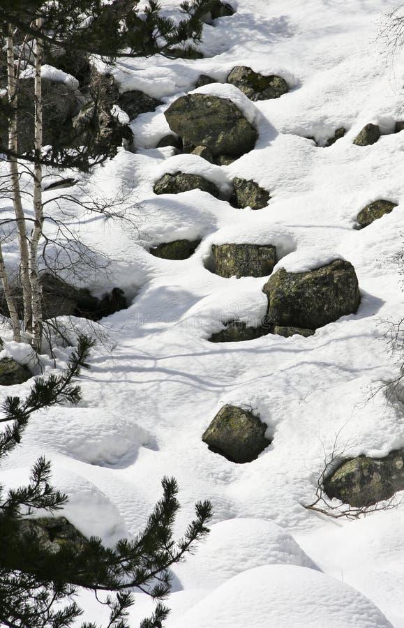 Heuvel van sneeuwrotsen stock foto