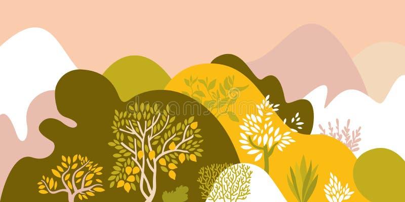 Heuvelig landschap met bomen, struiken en installaties Groeiende installaties en het tuinieren Bescherming en behoud van het mili vector illustratie