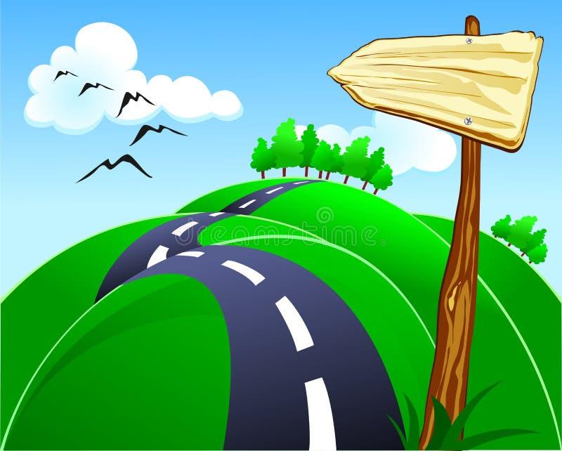 Heuvelige weg stock illustratie