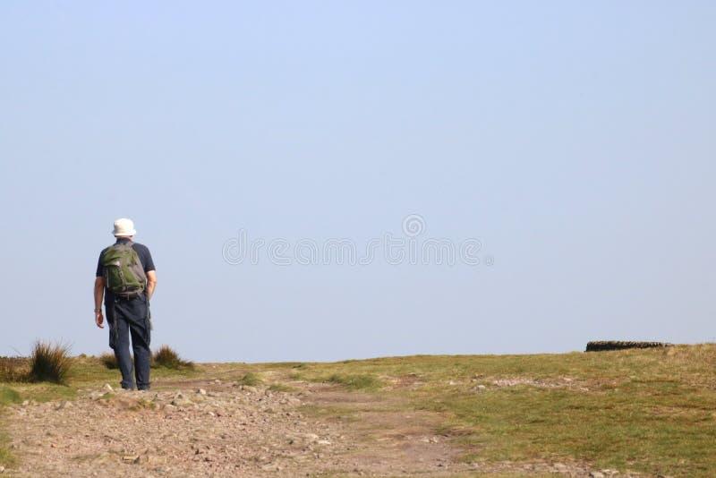 Heuvelleurder op horizon, Nicky Nook Fell, Scorton stock fotografie