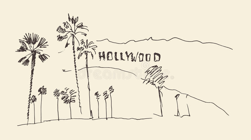 Heuvels en bomen die illustratie graveren, hollywood royalty-vrije illustratie