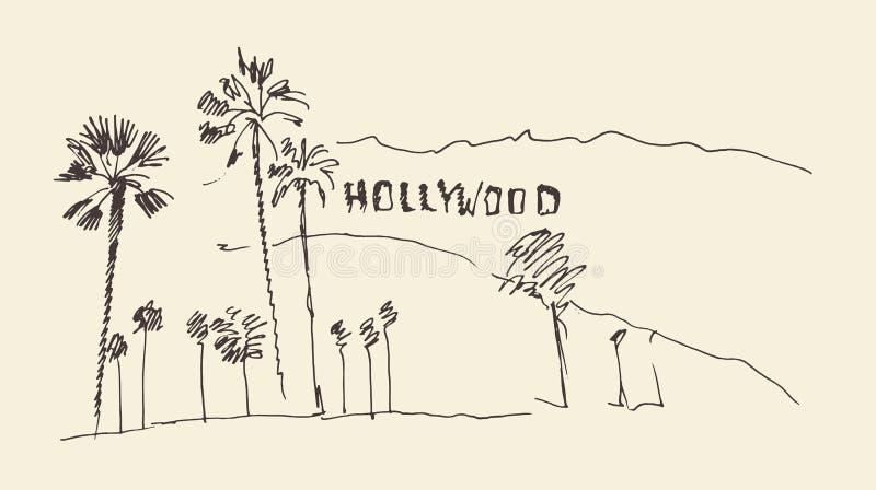 Heuvels en bomen die illustratie graveren, hollywood royalty-vrije illustratie