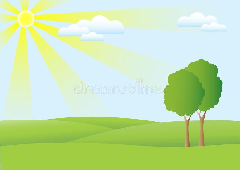 Heuvels en de Achtergrond van de Hemel royalty-vrije illustratie