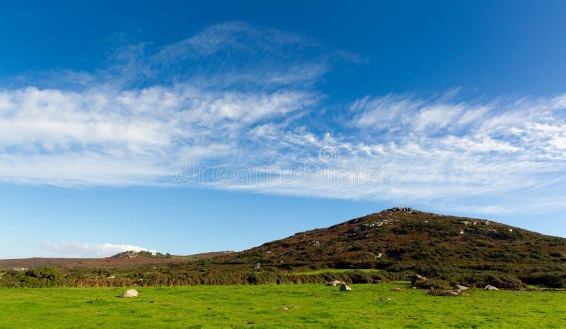 Heuvels en gebiedencornwall platteland Zennor dichtbij St Ives stock afbeeldingen