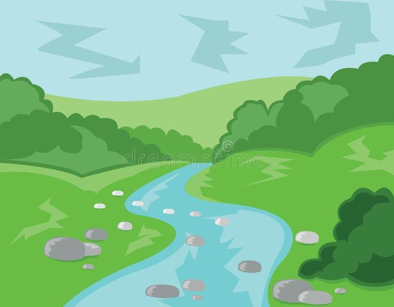 Heuvelsvallei en Stromen Vectorillustratie stock illustratie