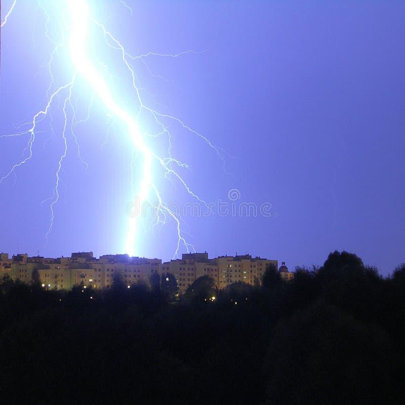 Hevige onweersbui in Polen, Kalisz-stad, de zomer van 2010 royalty-vrije stock foto's
