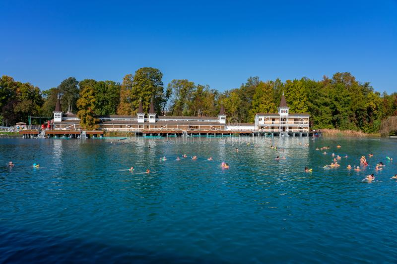 Heviz, Hungary / 10.08.2019 : people swimming in famous Heviz balneal thermal bath pond in Hungary park. Heviz, Hungary 10.08.2019 : people swimming in famous royalty free stock photos