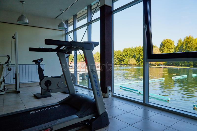 Heviz, Hungary - September 27, 2018: Gym with exercise machines on balneological therapeutic lake Heviz in Hungary. With warm water during all time of a year stock images