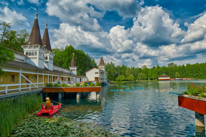 Heviz Thermal Lake with Hot Water in Hungary stock photos