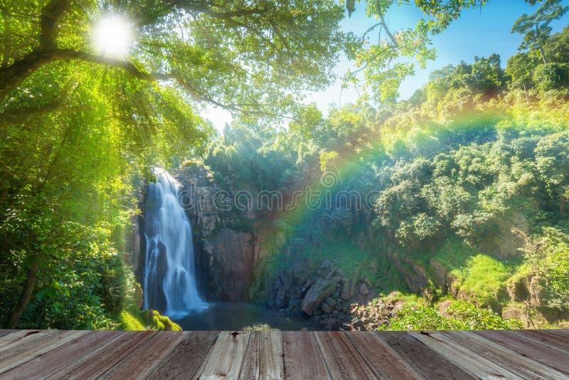 Hew Narok, beautiful waterfall in Khao Yai national park of Thai. Land with sun rays and rainbow royalty free stock photos